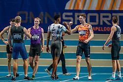 Rik Taam, Rafael Raap,  Rody de Wolff, Rafael Raap in action on the 60 meters during the Dutch Athletics Championships on 13 February 2021 in Apeldoorn