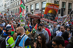 London, UK. 10th June, 2018. Hundreds of people take part in the pro-Palestinian Al Quds Day march through central London organised by the Islamic Human Rights Commission. An international event, it began in Iran in 1979. Quds is the Arabic name for Jerusalem.