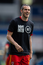 CARDIFF, WALES - Saturday, June 5, 2021: Wales' captain Gareth Bale, wearing a Hope United t-shirt, during the pre-match warm-up before an International Friendly between Wales and Albania at the Cardiff City Stadium in their game before the UEFA Euro 2020 tournament. (Pic by David Rawcliffe/Propaganda)