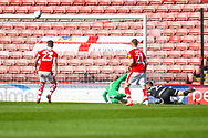 Ryan Sears of Shrewsbury Town (27) heads just over during the EFL Sky Bet League 1 match between Barnsley and Shrewsbury Town at Oakwell, Barnsley, England on 19 April 2019.