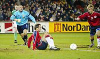 Fotball<br /> Treningskamp<br /> 18.02.2004<br /> Nord Irland v Norge<br /> Foto: Anders Hoven, Digitalsport<br /> <br /> Morten Gamst Pedersen gjør 1-0 til Norge