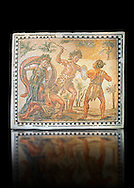 Roman floor mosaic  depicting the struggle between Dionysus and the Indians. From the  Villa de Ruffinella, Tusculum. 4th century AD. National Roman Museum, Rome, Italy .<br /> <br /> If you prefer to buy from our ALAMY PHOTO LIBRARY  Collection visit : https://www.alamy.com/portfolio/paul-williams-funkystock/national-roman-museum-rome-mosaic.html <br /> <br /> Visit our ROMAN ART & HISTORIC SITES PHOTO COLLECTIONS for more photos to download or buy as wall art prints https://funkystock.photoshelter.com/gallery-collection/The-Romans-Art-Artefacts-Antiquities-Historic-Sites-Pictures-Images/C0000r2uLJJo9_s0