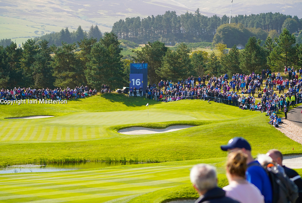 Solheim Cup 2019 at Centenary Course at Gleneagles in Scotland, UK. Crowds of spectators walk along the 16th fairway during the Friday Morning Foursomes