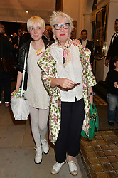 JENNY ECLAIR and her daughter PHOEBE POWELL at the West End opening night of 'Great Britain' a  play by Richard Bean held at The Theatre Royal, Haymarket, London followed by a post show party at Mint Leaf, Suffolk Place, London on 26th September 2014.