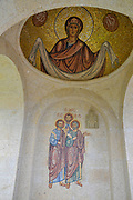 Mosaic art work in the interior of the Holy Trinity Monastery In Adjara, Georgia overlooking the city of Batumi