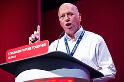 © Licensed to London News Pictures. 26/09/2021. Brighton, UK. MATT WRACK of the Fire Brigades Union , speaks . The second day of the 2021 Labour Party Conference , which is taking place at the Brighton Centre . Photo credit: Joel Goodman/LNP