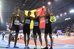 March 4, 2018 - Birmingham, Angleterre - BIRMINGHAM , UNITED KINGDOM  - MARCH 4 :  Podium ceremony of The Belgian Tornado Jonathan, Kevin and Dylan Borlee with Jonathan Saccor pictured during 4X400 M final at The Athletic WIC Birmingham 2018 on March 4, 2018 in Birmingham , United Kingdom ,04/03/2018 (Credit Image: © Panoramic via ZUMA Press)