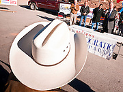 31 OCTOBER 2010 - WINDOW ROCK, AZ: A man wearing a cowboy hat listens to  Terry Goddard speak at the Democratic rally in Window Rock. Goddard, and the other Democrats on the statewide ticket, campaigned in Window Rock and Kingman on Halloween. Goddard ended the day with a press conference in front of the Executive Office Tower at the State Capitol in Phoenix. Goddard lost the election to sitting Governor Jan Brewer, a conservative Republican.     PHOTO BY JACK KURTZ