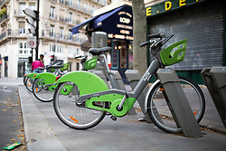 A velib station dock in Paris on May 4, 2020, on the forty-ninth day of a strict lockdown in France, in place to attempt to stop the spread of the new coronavirus (COVID-19). Photo by Raphael Lafargue/ABACAPRESS.COM