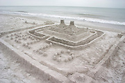 Sand castle built on the Gulf of Mexico beach.  North Redington Beach Tampa Bay Area Florida USA