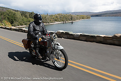 Mike Jensen riding his 1916 Excelsior in the Motorcycle Cannonball coast to coast vintage run. Stage 12 (242 miles) from Great Falls to Kalispell, MT. Thursday September 20, 2018. Photography ©2018 Michael Lichter.