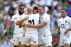 England players celebrate a try from Tom Curry of England - Mandatory byline: Patrick Khachfe/JMP - 07966 386802 - 24/08/2019 - RUGBY UNION - Twickenham Stadium - London, England - England v Ireland - Quilter International
