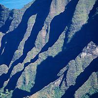 Hawaii, Kauai, Napali, Kalalau, weathered ridges of valley