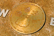 Plaque of the Hawaiian Islands with compass points at Kilauea National Wildlife Refuge, Island of Kauai, Hawaii
