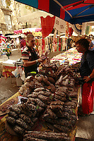 The Saturday market in Uzès, Languedoc, France..October 6, 2007..Photo by Owen Franken for the NY Times...Assignment ID: 30049869AThe Saturday market in Uzes, Languedoc, France..sausages..October 6, 2007..Photo by Owen Franken for the NY Times...Assignment ID: 30049869A