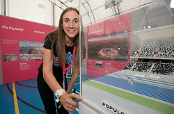 Open House. Lisa Dobriskey looks at the Olympic Stadium model.<br /> Picture taken 20th September 2009