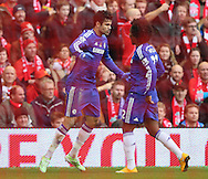 Diego Costa of Chelsea celebrates his wining goal with Willian of Chelsea  - Barclays Premier League - Liverpool vs Chelsea - Anfield Stadium - Liverpool - England - 8th November 2014  - Picture Simon Bellis/Sportimage