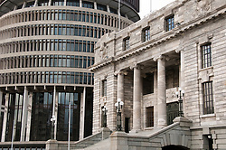 New Zealand, North Island, Wellington, Parliament Building and Beehive. Photo copyright Lee Foster. Photo # newzealand125626