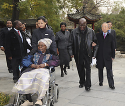 BEIJING, Nov. 24, 2011  Chinese State Councilor Dai Bingguo (1st R, front) accompanies former Zambian President Kenneth David Kaunda at the Diaoyutai State Guest House in Beijing, China, Nov. 24, 2011. Dai met with Kaunda here Thursday. (Credit Image: © Xinhua via ZUMA Wire)