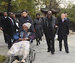 BEIJING, Nov. 24, 2011  Chinese State Councilor Dai Bingguo (1st R, front) accompanies former Zambian President Kenneth David Kaunda at the Diaoyutai State Guest House in Beijing, China, Nov. 24, 2011. Dai met with Kaunda here Thursday. (Credit Image: © Xinhua via ZUMA Wire)