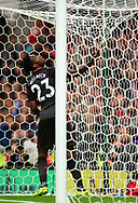 Danny Welbeck of Arsenal pulls on the goal net. Premier league match, Stoke City v Arsenal at the Bet365 Stadium in Stoke on Trent, Staffs on Saturday 19th August 2017.<br /> pic by Bradley Collyer, Andrew Orchard sports photography.