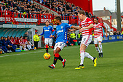 Jermain Defoeholds off Matt Kilgallon and controls the ball over the top during the Ladbrokes Scottish Premiership match between Hamilton Academical FC and Rangers at The Hope CBD Stadium, Hamilton, Scotland on 24 February 2019.