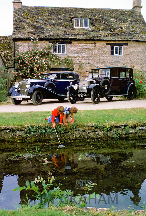 Restored vintage cars at Ashton Keynes Vintage Restorations in Wiltshire, UK