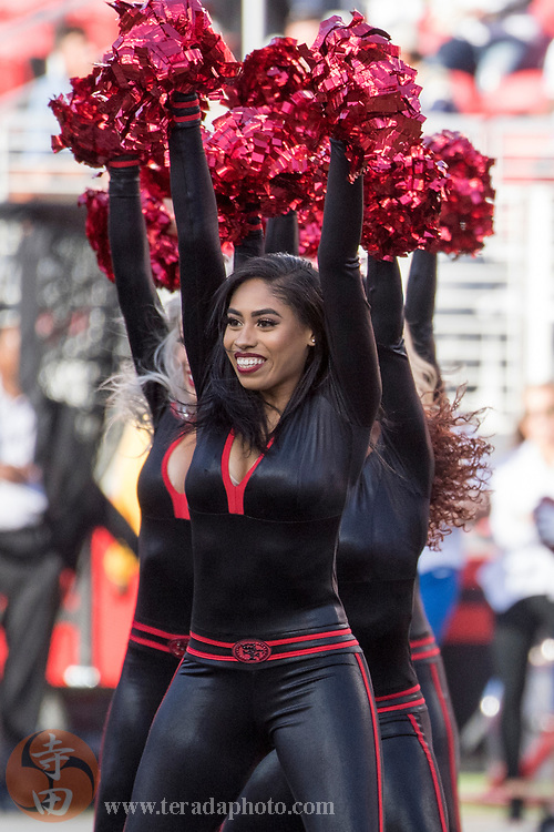 September 21, 2017; Santa Clara, CA, USA; San Francisco 49ers Gold Rush cheerleader Kayla M. before the game against the Los Angeles Rams at Levi's Stadium. The Rams defeated the 49ers 41-39.