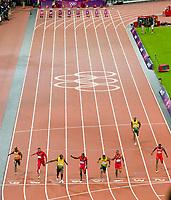 LONDON OLYMPIC GAMES 2012 - OLYMPIC STADIUM , LONDON (ENG) - 05/08/2012 - PHOTO : POOL / KMSP / DPPI<br /> ATHLETICS - 100M MEN FINAL - USAIN BOLT (JAM) / WINNER GOLD MEDAL - YOHAN BLAKE (JAM) / SILVER MEDAL AND JUSTIN GATLIN (USA) / BRONZE