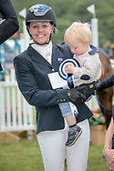 Third placed Sammi Birch (AUS) with her son Charlie during the presentation of the Equitrek CCI*** event on day four of during the Bramham International Horse Trials 2017 at  at Bramham Park, Bramham, United Kingdom on 11 June 2017. Photo by Mark P Doherty.