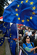 Anti Brexit protesters with messages to Stop Brexit, Stop the Coup and Pro Democracy in Westminster on the day after Parliament voted to take control of Parliamentary proceedings and prior to a vote on a bill to prevent the UK leaving the EU without a deal at the end of October, on 4th September 2019 in London, England, United Kingdom. Yesterday Prime Minister Boris Johnson faced a showdown after he threatened rebel Conservative MPs who vote against him with deselection, and vowed to aim for a snap general election if MPs succeed in a bid to take control of parliamentary proceedings to allow them to discuss legislation to block a no-deal Brexit.