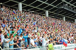 Fans celebrate the first goal of Slovenia during the EURO 2016 Qualifier Group E match between Slovenia and England at SRC Stozice on June 14, 2015 in Ljubljana, Slovenia. Photo by Mario Horvat / Sportida