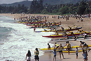 Outrigger canoe race, Wailua Beach, kauai, Hawaii<br />