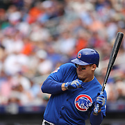 Anthony Rizzo, Chicago Cubs, ducks to avoid a pitch from Alex Torres, New York Mets, during the New York Mets Vs Chicago Cubs MLB regular season baseball game at Citi Field, Queens, New York. USA. 2nd July 2015. Photo Tim Clayton