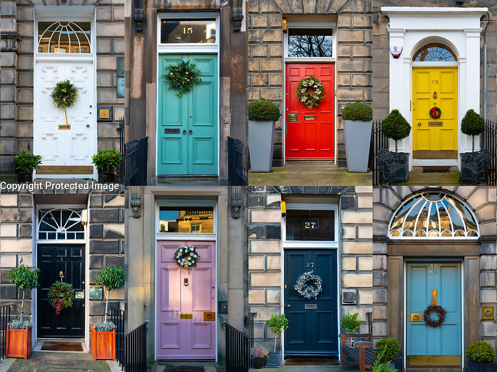 A great variety of Christmas wreaths are fixed to the colourful doors of townhouses in Edinburgh's historic new Town. Scotland, UK