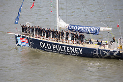 © Licensed to London News Pictures. 01/09/2013. London, UK. Crew aboard the Old Pulteney Clipper rowds wave to the crowds for the departure of the Clipper 2013-14 Round the World Yacht Race. This is the first time London has hosted a round the world sailing race in more than 40 years.12 yachts ail begin the 40,000 mile, 11 leg race. They will visit six continents and the race will take 11 months to complete. 395 of the 670 crew members are from the UK, 87 come from London. Each vessel has an amateur crew under the command of a professional skipper. Photo credit : Vickie Flores/LNP