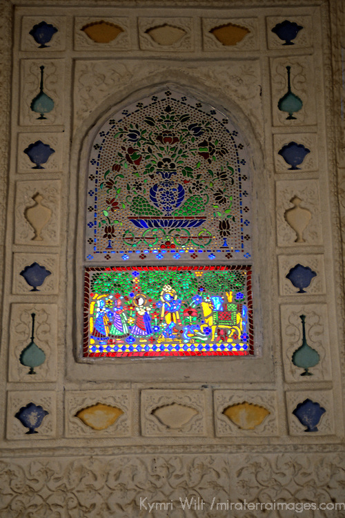 Asia, India, Amer. Stained Glass Window at Amber Palace.