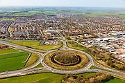 Nederland, Friesland, Gemeente Skarsterlan (Scharsterland), 01-05-2013; knooppunt Joure met A7 naar Sneek / Afsluitdijk (links midden), A7 richting Heerenveen / Groningen (rechts) en de A6 richting Lemmer / Noordoostpolder Links onder). Boven midden afslag Joure en bebouwde kom Joure..<br /> <br /> luchtfoto (toeslag op standard tarieven)<br /> aerial photo (additional fee required)<br /> copyright foto/photo Siebe Swart