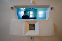 Former suicide watch prison cell inside hall at Peterhead Prison Museum in Peterhead, Aberdeenshire, Scotland, UK