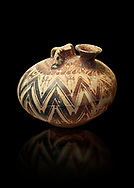 Mycenaean three handled styrrup jar with painted zig zag  and double axesdesigns, Tholos tomb 2 , Myrsinochori, Messenia, 15th cent BC. National Archaeological Museum Athens. Cat No 8376. .<br /> <br /> If you prefer to buy from our ALAMY PHOTO LIBRARY  Collection visit : https://www.alamy.com/portfolio/paul-williams-funkystock/mycenaean-art-artefacts.html . Type -   Athens    - into the LOWER SEARCH WITHIN GALLERY box. Refine search by adding background colour, place, museum etc<br /> <br /> Visit our MYCENAEN ART PHOTO COLLECTIONS for more photos to download  as wall art prints https://funkystock.photoshelter.com/gallery-collection/Pictures-Images-of-Ancient-Mycenaean-Art-Artefacts-Archaeology-Sites/C0000xRC5WLQcbhQ