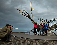 Four Women with Viking Helmets at the Sun Voyager (Sólfar) in Reykjavik. Image taken with a Fuji X-T1 camera and Zeiss 12 mm f/2.8 lens.