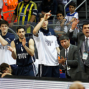 Anadolu Efes's players during their Turkish Basketball league derby match Fenerbahce Ulker between Anadolu Efes at the Ulker Sports Arena in Istanbul, Turkey, Monday, April 29, 2013. Photo by Aykut AKICI/TURKPIX