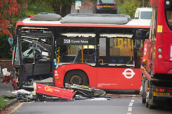 ©Licensed to London News Pictures 01/11/2019.<br /> Orpington,UK. The 2nd bus (358) has been pulled into the road ready for removal.  One person is dead and 15 others have been injured in a crash between two buses and a car last night in Orpington, South East London. A man has been arrested for dangerous driving. Police are still on scene and a cordon is in place. Photo credit: Grant Falvey/LNP