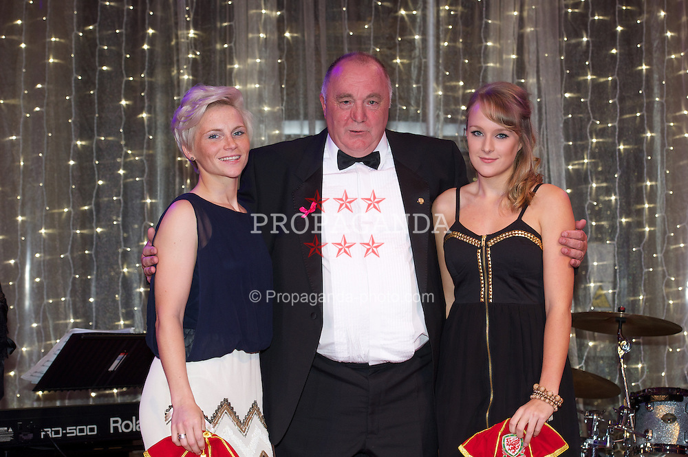 CARDIFF, WALES - Monday, October 8, 2012: Wales' FAW President Trevor Lloyd-Hughes presents caps to Jessica Fishlock [l] and Josie Green [r] during the FAW Player of the Year Awards Dinner at the National Museum Cardiff. (Pic by David Rawcliffe/Propaganda)