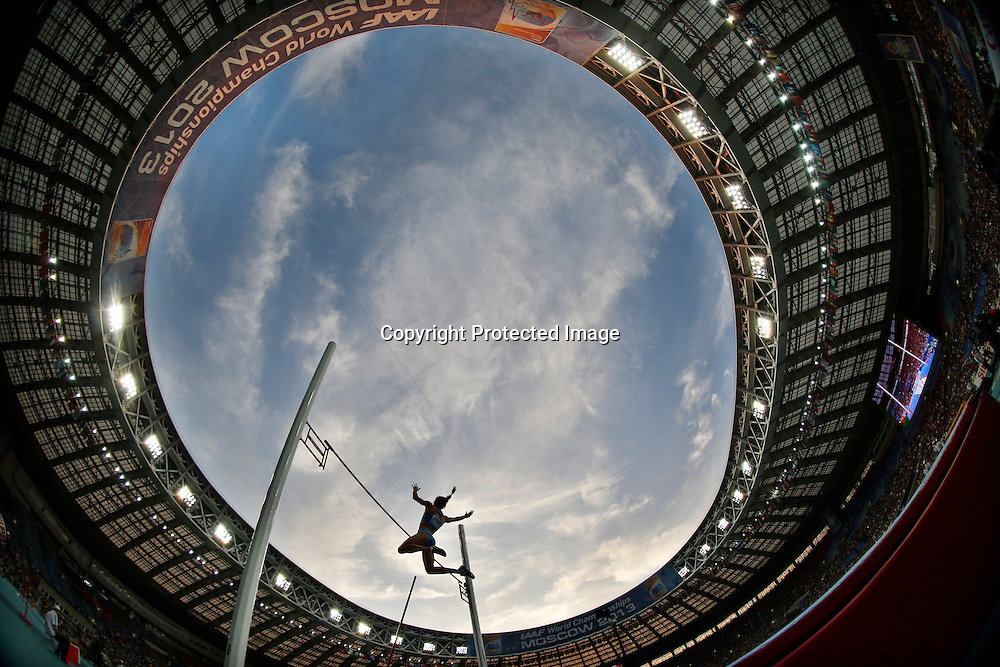 Picture taken with a fisheye lense shows Yelena Isinbayeva of Russia clearing the bar during the women's Pole Vault final at the 14th IAAF World Championships at Luzhniki stadium in Moscow, Russia, 13 August 2013.  EPA/KERIM OKTEN