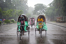 August 3, 2017 - Dhaka, Bangladesh - Rickshaw puller transport passenger when heavy rainfall made in Dhaka city. Last few days in Dhaka city heavy rainfall created floods in various place. (Credit Image: © K M Asad via ZUMA Wire)