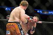 DALLAS, TX - MARCH 14:  Jared Rosholt connects with a punch to Josh Copeland during UFC 185 at the American Airlines Center on March 14, 2015 in Dallas, Texas. (Photo by Cooper Neill/Zuffa LLC/Zuffa LLC via Getty Images) *** Local Caption *** Jared Rosholt; Josh Copeland
