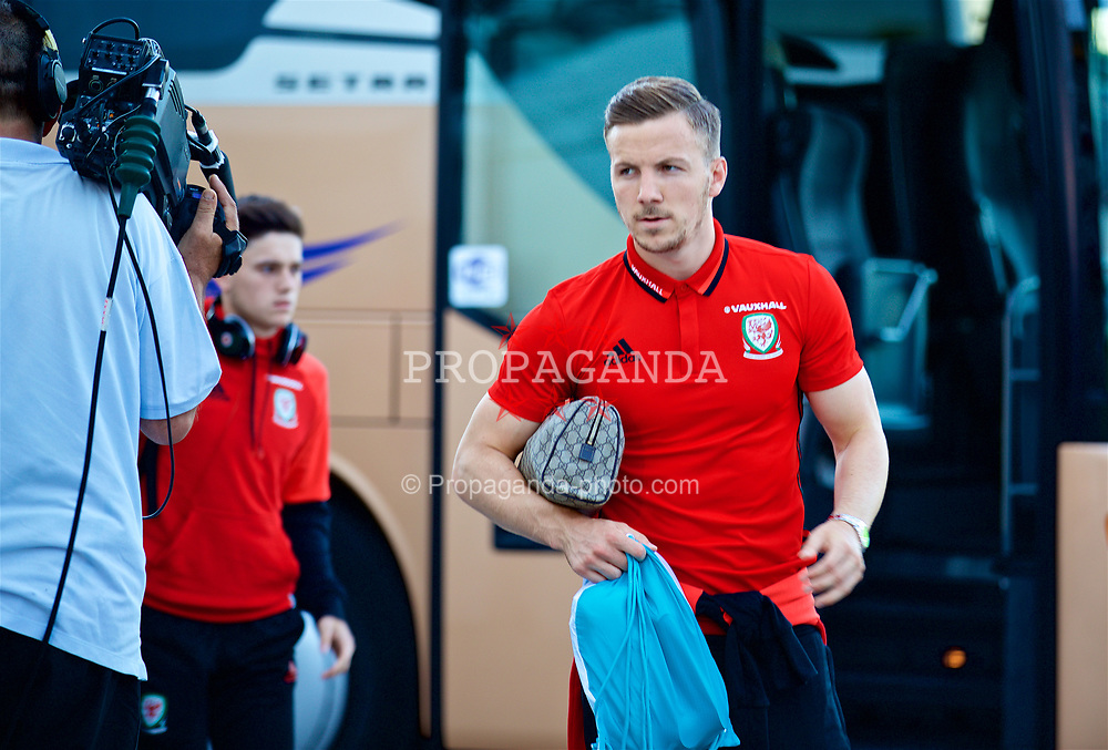 BELGRADE, SERBIA - Sunday, June 11, 2017: Wales' Lee Evans arrives before the 2018 FIFA World Cup Qualifying Group D match between Wales and Serbia at the Red Star Stadium. (Pic by David Rawcliffe/Propaganda)