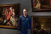 Arthur Brand  (Deventer, 1969) staat voor 4 mede door hem uit Oekraïne terughaalde, in 2005 uit het Westfries Museum in Hoorn gestolen schilderijen van oa Floris van Schooten en  Jacob Waben. Arthur Brand is een Nederlandse  kunstroofexpert. Hoorn, Nederland, 15 april 2019.<br /> Arthur Brand (Deventer, Holland, 1969) in front of 4 paintings, who were stolen from the Westfries Museum in Hoorn, recovered by him in Ukraine. Arthur Brand is a Dutch art theft expert. Hoorn, the Netherlands, April 15, 2019.