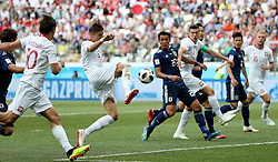 VOLGOGRAD, June 28, 2018  Jan Bednarek (3rd L) of Poland scores a goal during the 2018 FIFA World Cup Group H match between Japan and Poland in Volgograd, Russia, June 28, 2018. (Credit Image: © Yang Lei/Xinhua via ZUMA Wire)